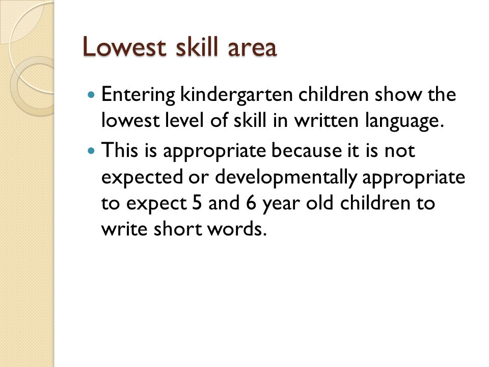 Lowest skill area Entering kindergarten children show the lowest level of skill in written language.