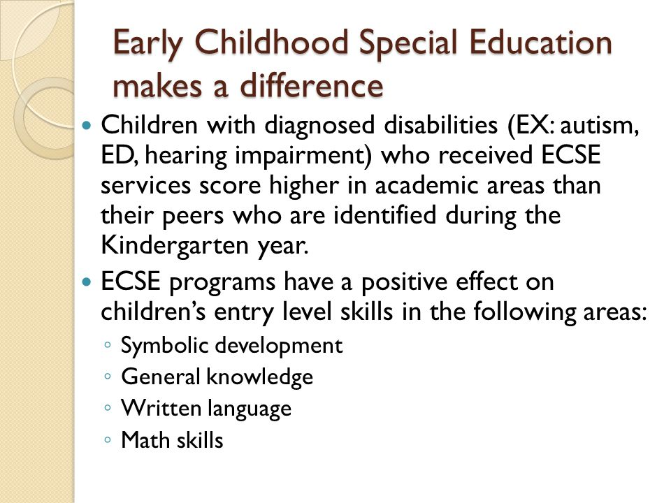 Early Childhood Special Education makes a difference