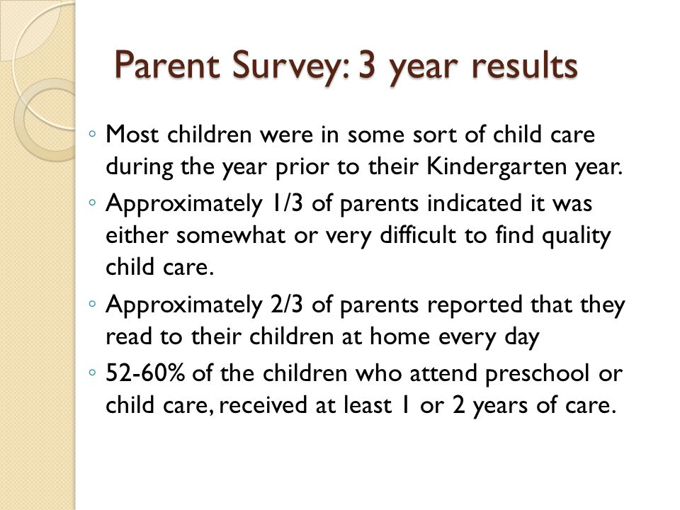 Parent Survey: 3 year results