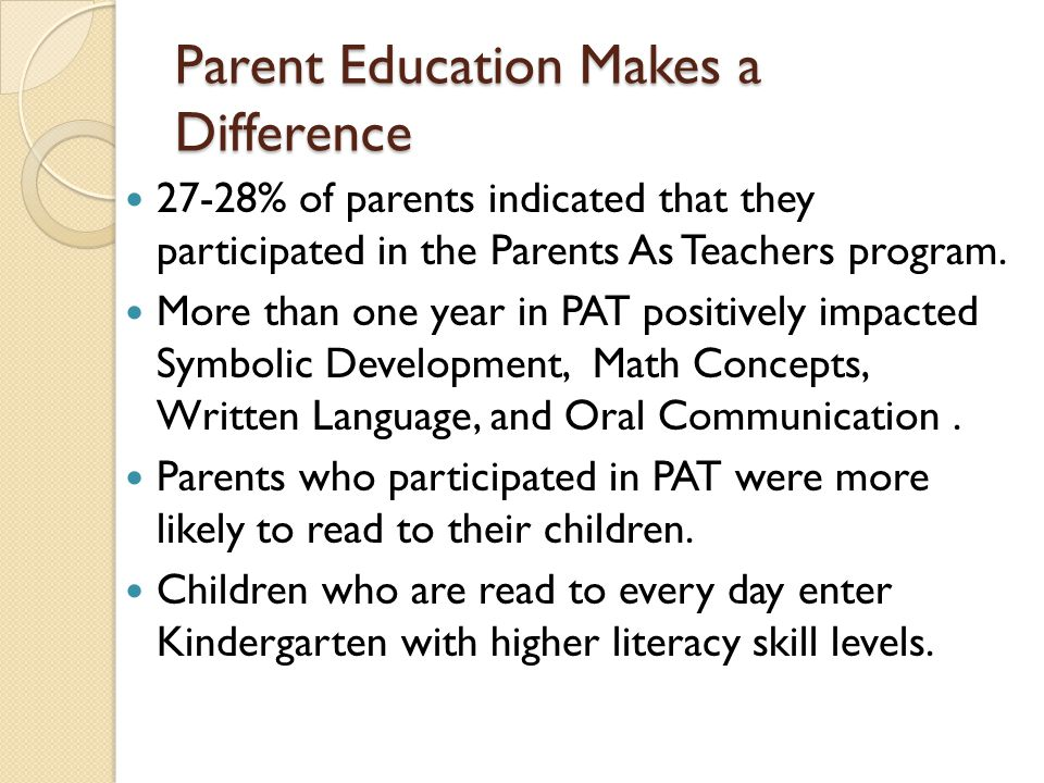 Parent Education Makes a Difference