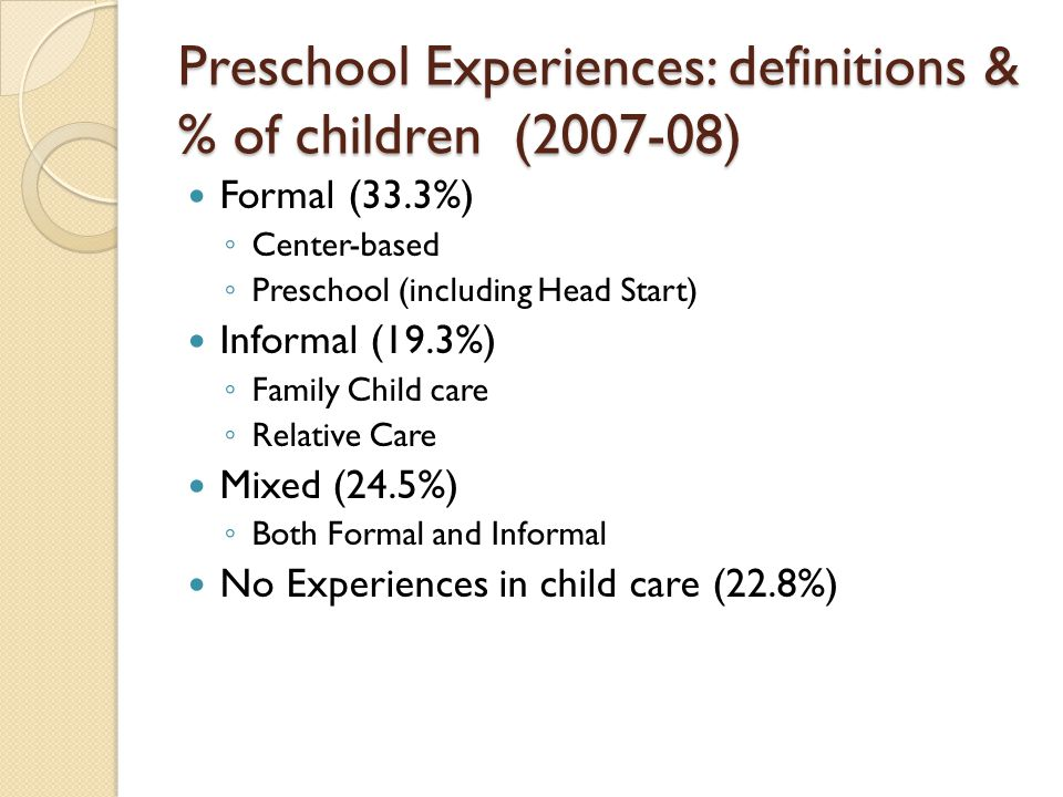 Preschool Experiences: definitions & % of children (2007-08)