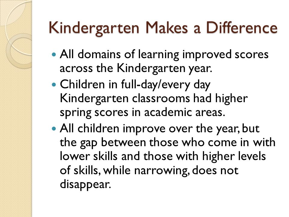 Kindergarten Makes a Difference