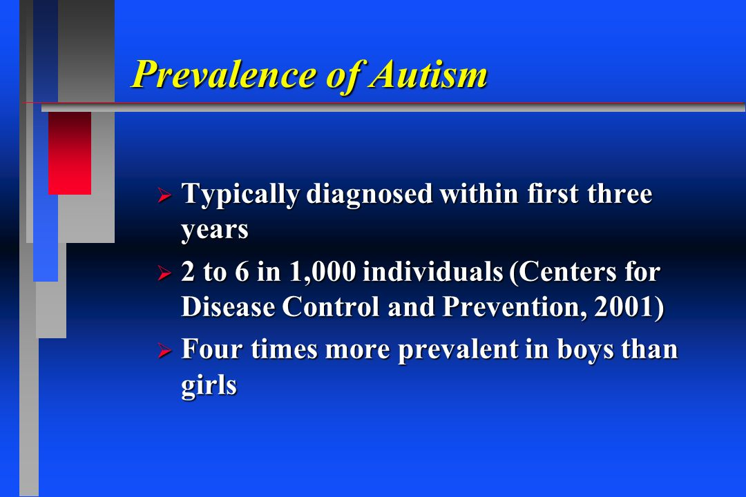 Prevalence of Autism Typically diagnosed within first three years