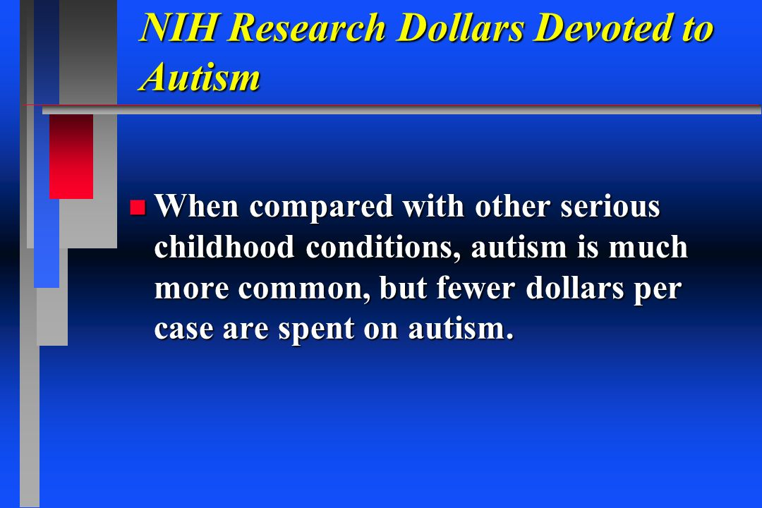NIH Research Dollars Devoted to Autism