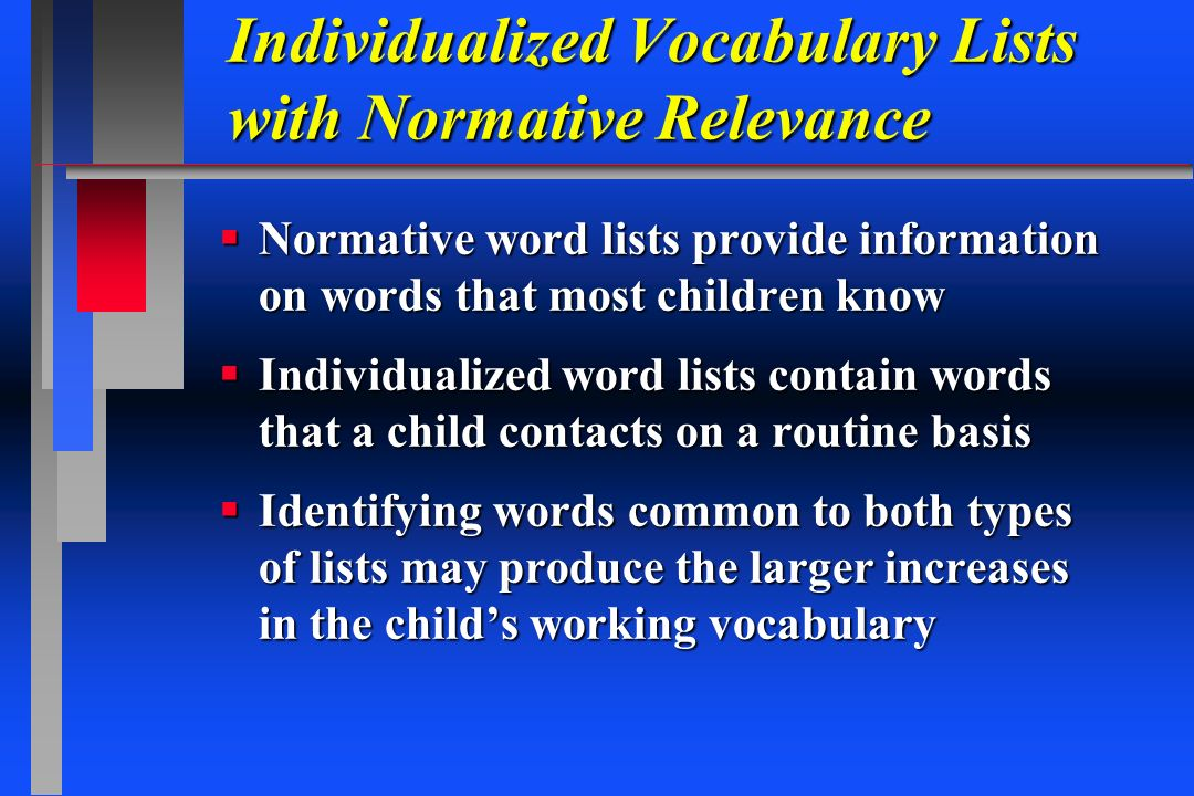 Individualized Vocabulary Lists with Normative Relevance