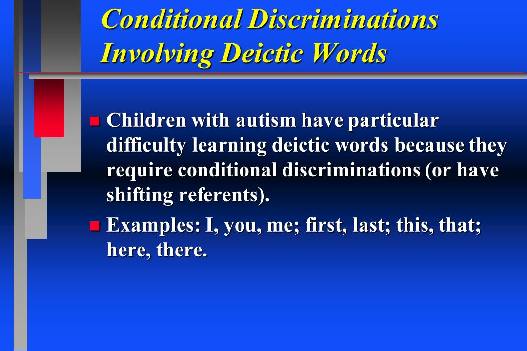 Conditional Discriminations Involving Deictic Words