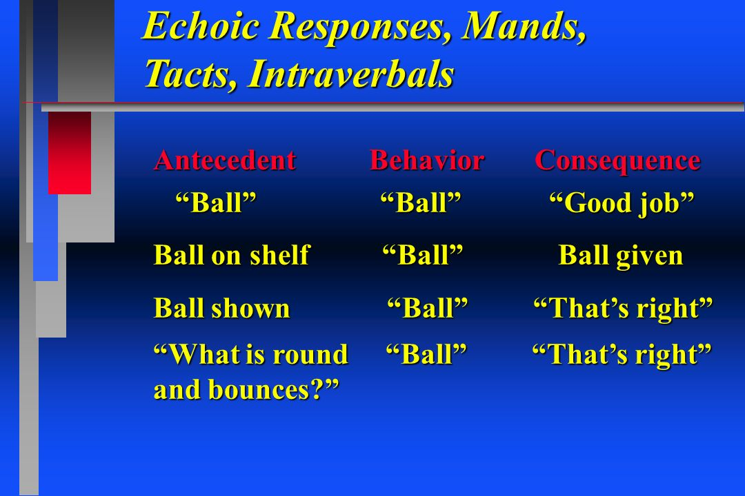 Echoic Responses, Mands, Tacts, Intraverbals