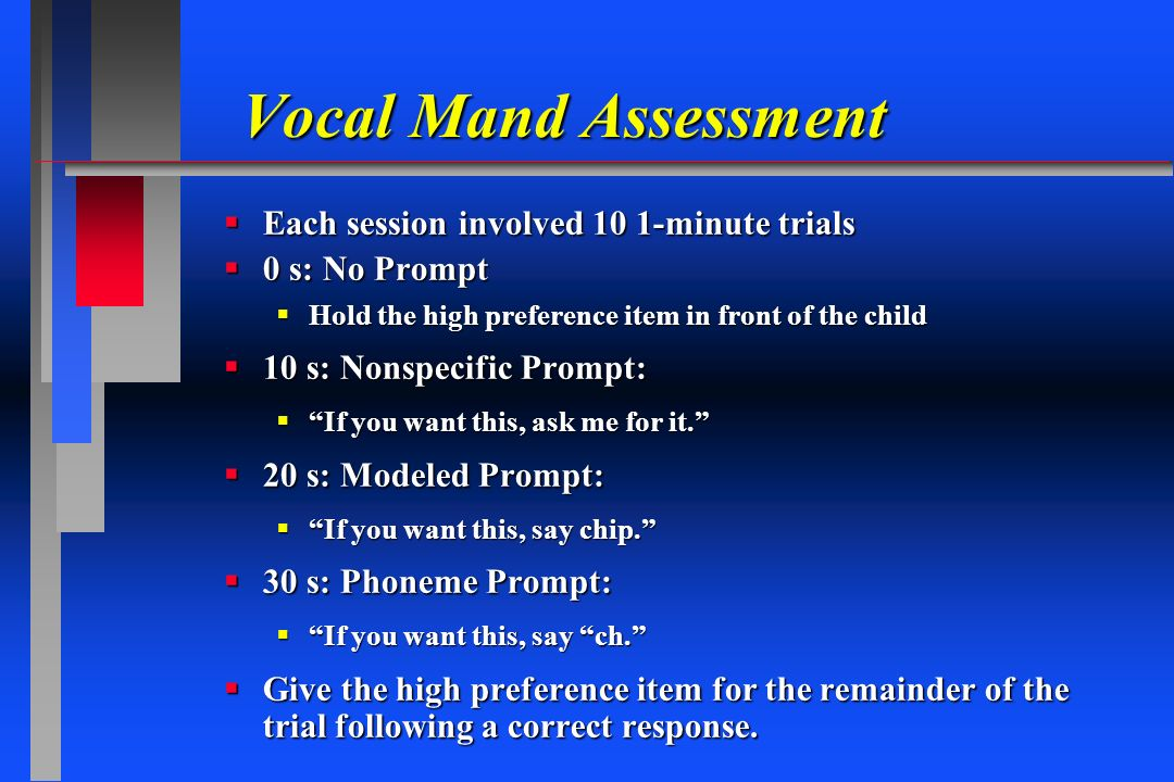Vocal Mand Assessment Each session involved 10 1-minute trials