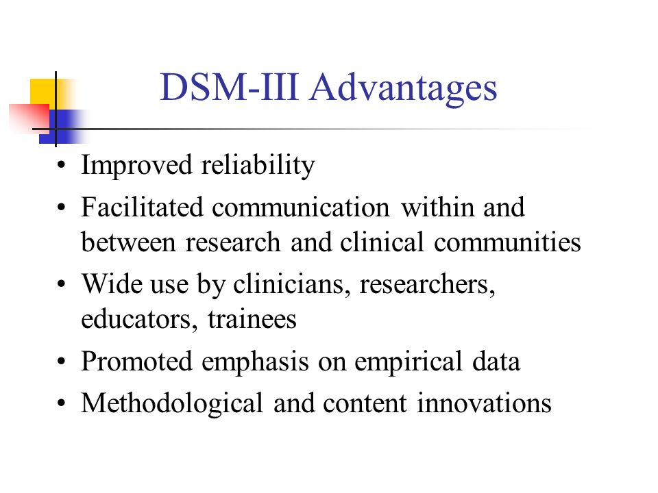 DSM-III Advantages Improved reliability