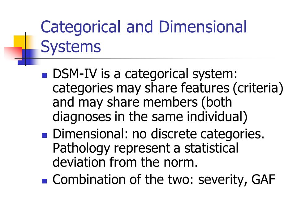 Categorical and Dimensional Systems