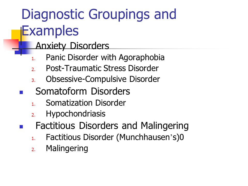 Diagnostic Groupings and Examples