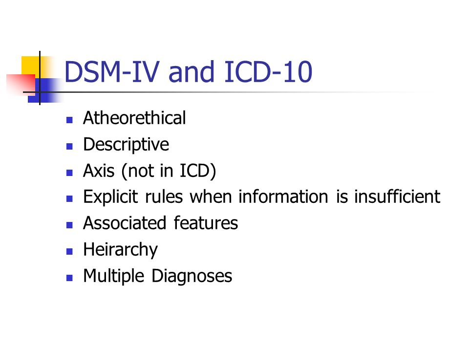 DSM-IV and ICD-10 Atheorethical Descriptive Axis (not in ICD)