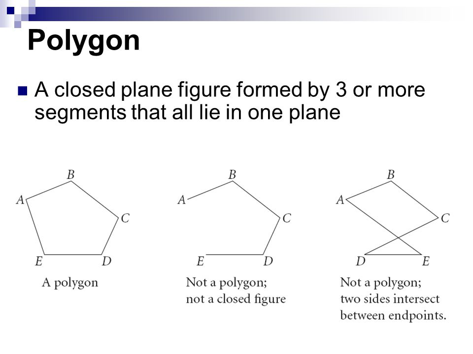 Polygon A closed plane figure formed by 3 or more segments that all lie in one plane