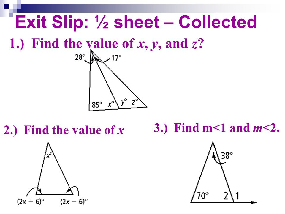 Exit Slip: ½ sheet – Collected