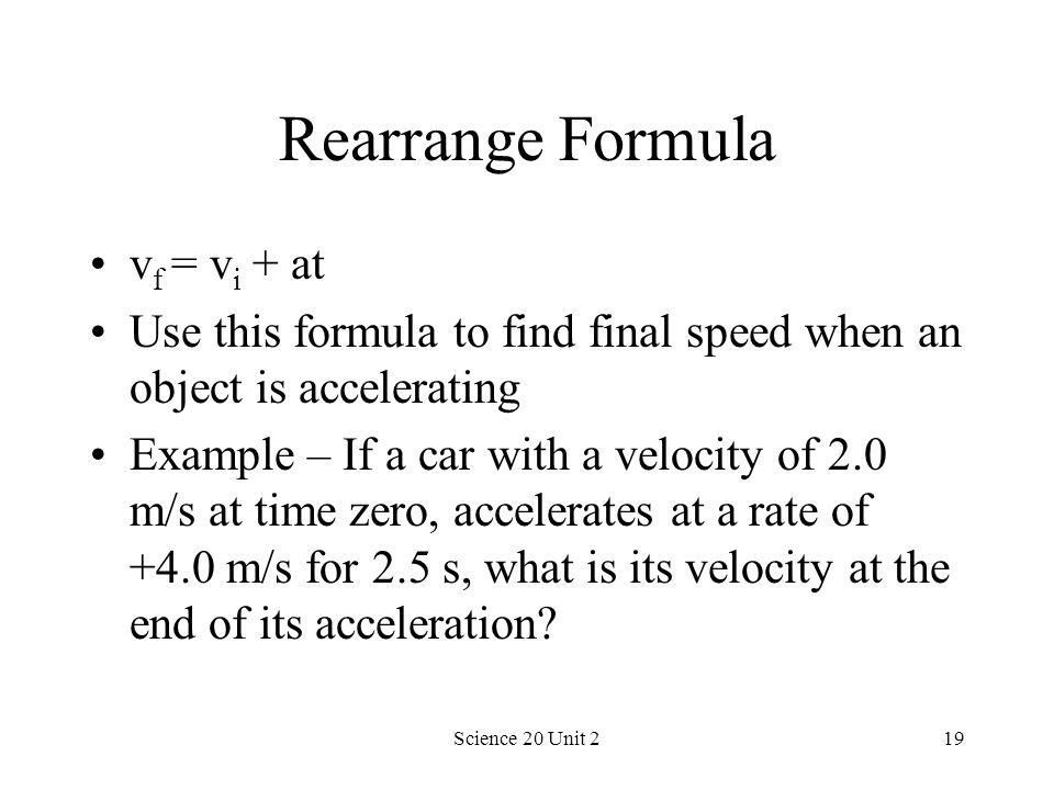 Rearrange Formula vf = vi + at