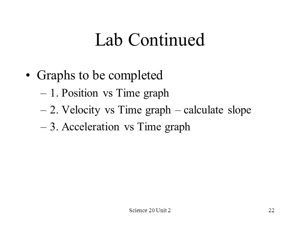 Lab Continued Graphs to be completed 1. Position vs Time graph