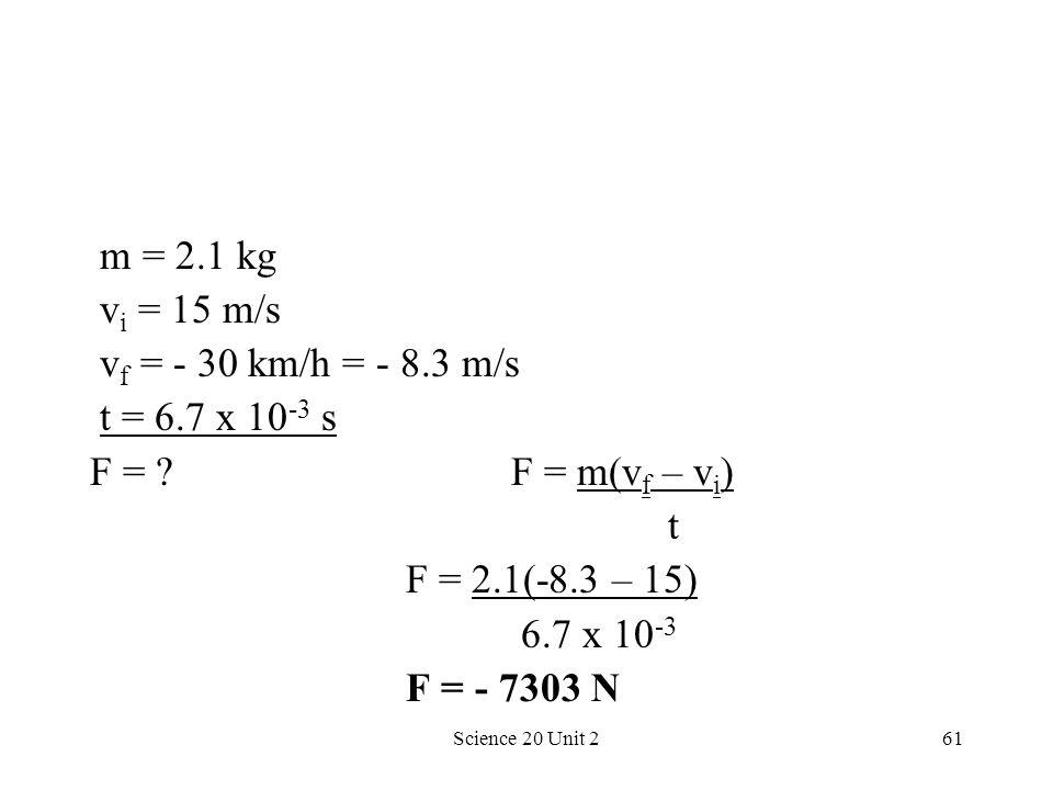 m = 2.1 kg vi = 15 m/s vf = - 30 km/h = - 8.3 m/s t = 6.7 x 10-3 s