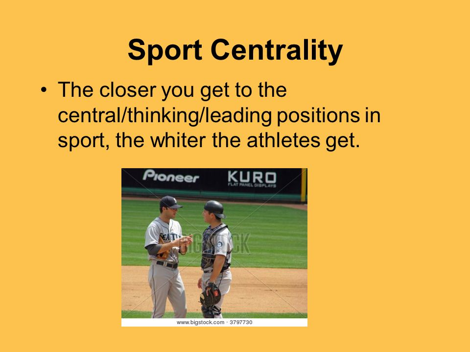 Sport CentralityThe closer you get to the central/thinking/leading positions in sport, the whiter the athletes get.