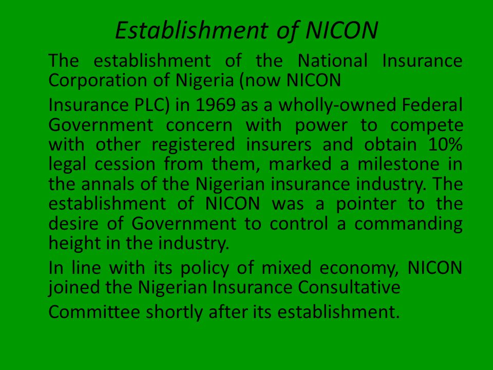 Establishment of NICON