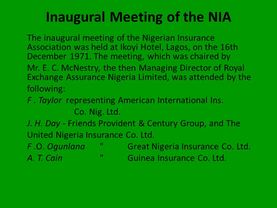 Inaugural Meeting of the NIA