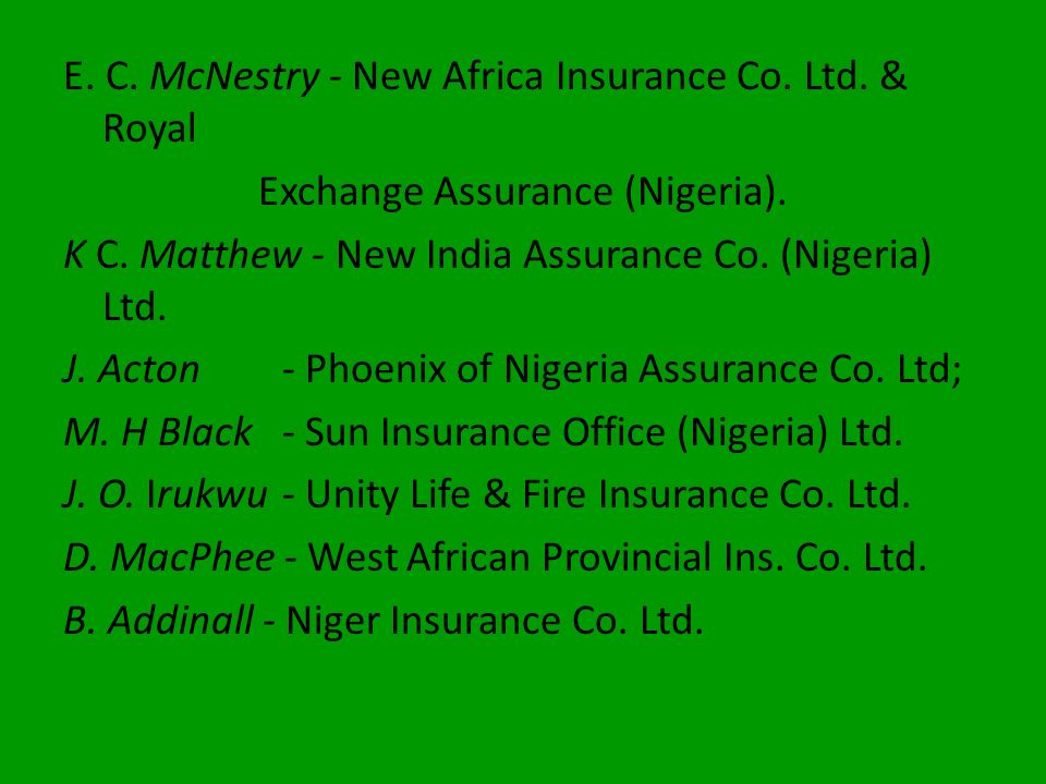 Exchange Assurance (Nigeria).