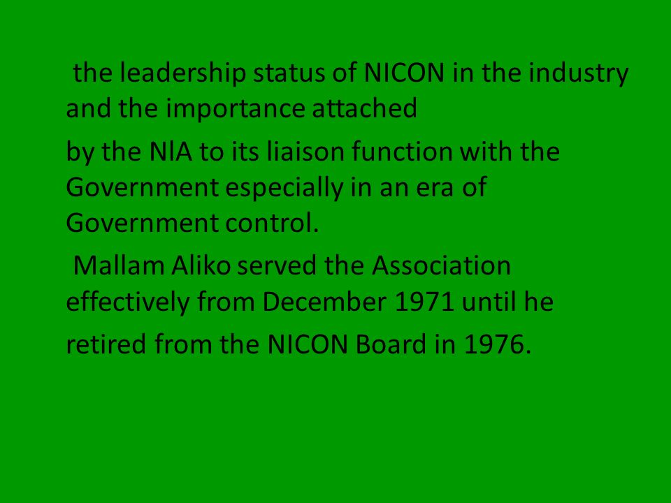 the leadership status of NICON in the industry and the importance attached