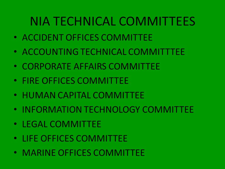 NIA TECHNICAL COMMITTEES