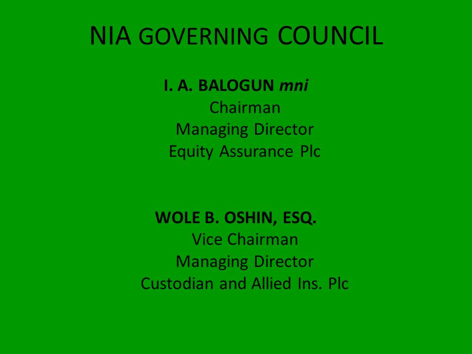 NIA GOVERNING COUNCIL