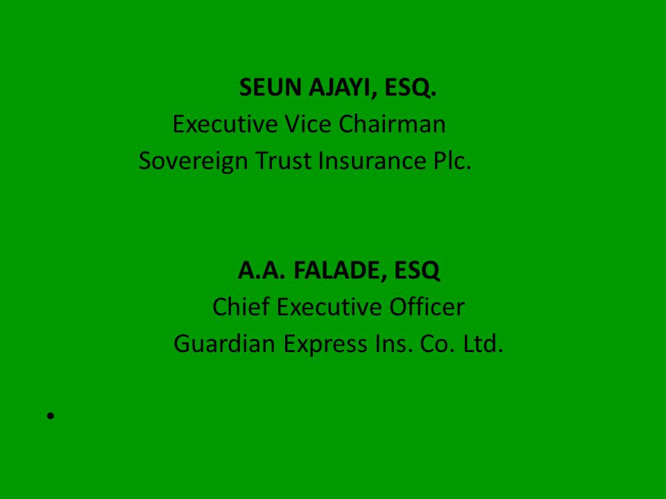 Executive Vice Chairman Sovereign Trust Insurance Plc.