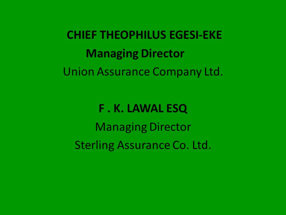 CHIEF THEOPHILUS EGESI-EKE