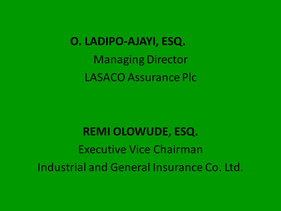 Executive Vice Chairman Industrial and General Insurance Co. Ltd.