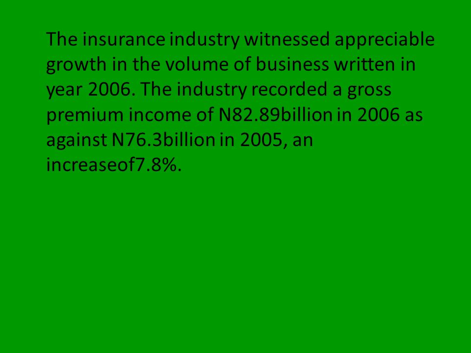 The insurance industry witnessed appreciable growth in the volume of business written in year 2006.