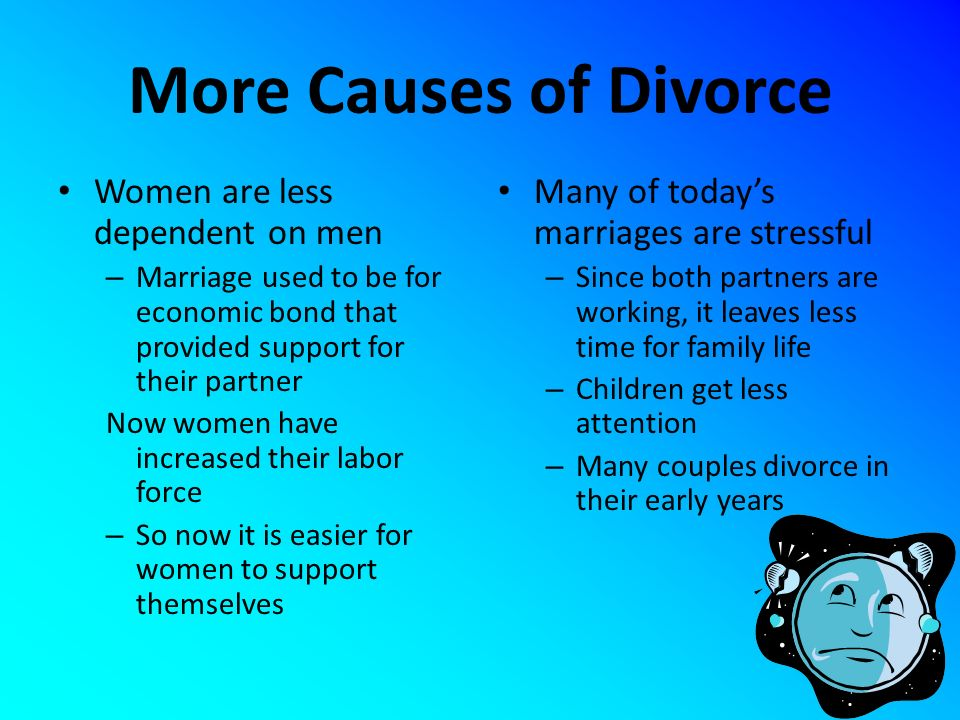 More Causes of Divorce Women are less dependent on men