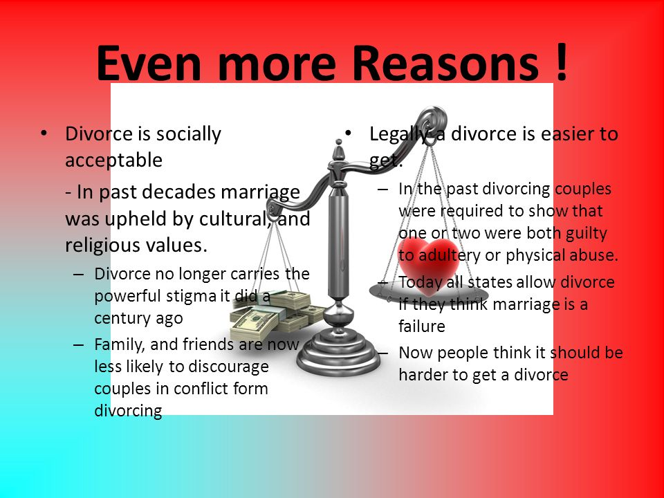 Even more Reasons ! Divorce is socially acceptable