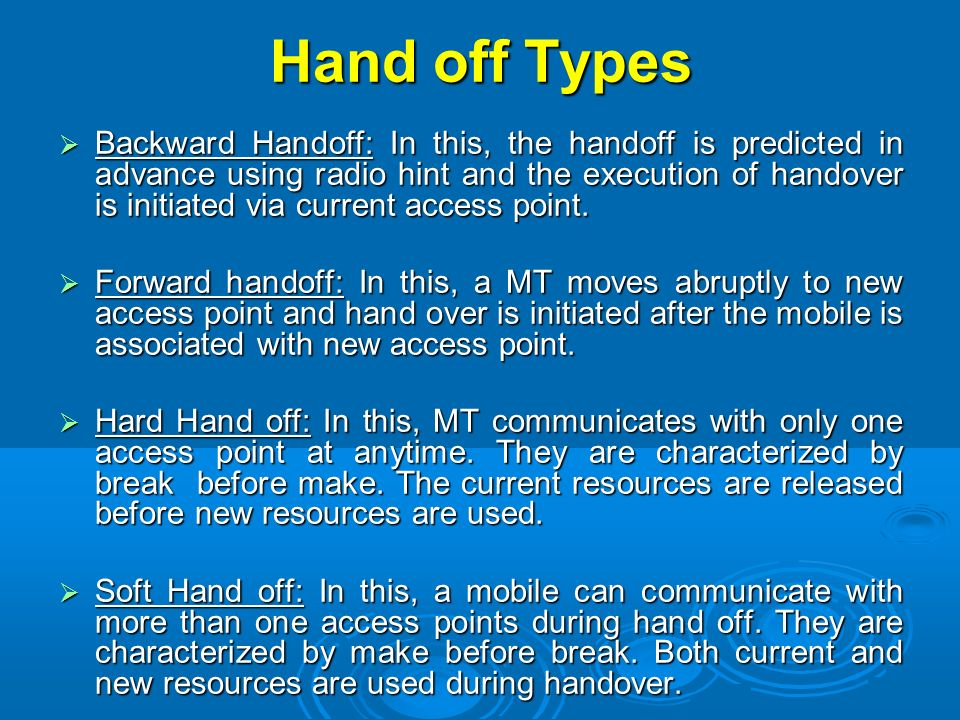 Hand off Types
