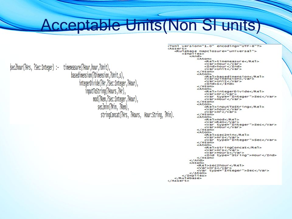 Acceptable Units(Non SI units)