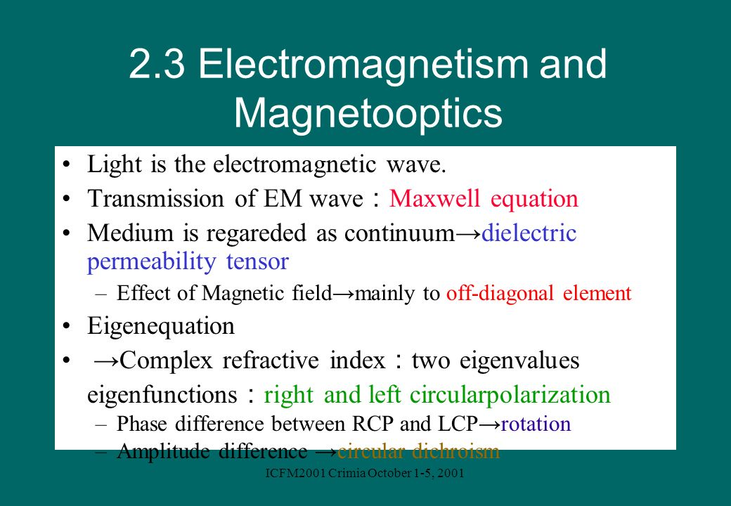 2.3 Electromagnetism and Magnetooptics