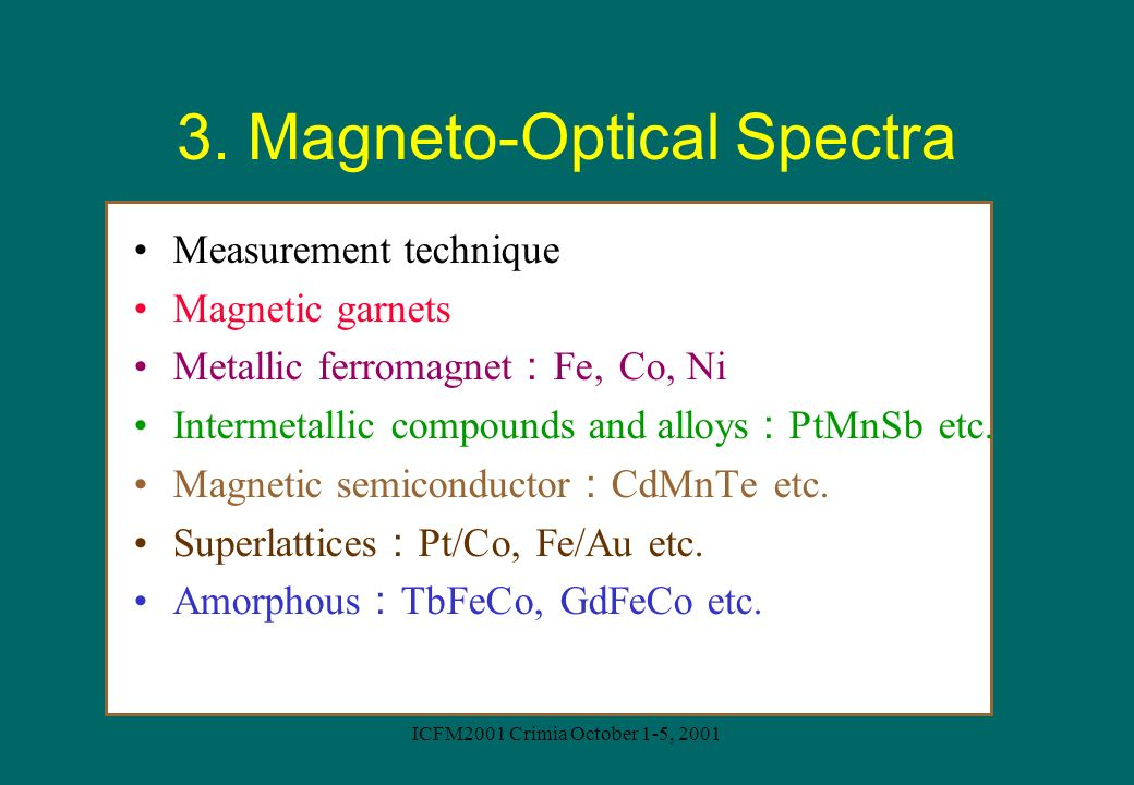 3. Magneto-Optical Spectra