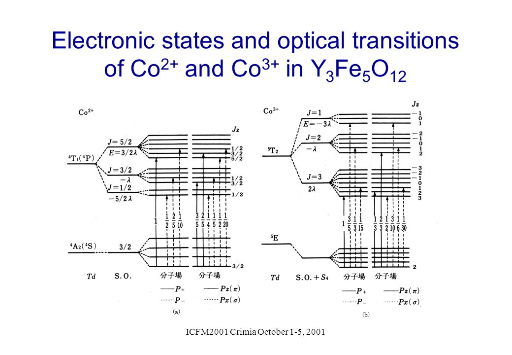 Electronic states and optical transitions of Co2+ and Co3+ in Y3Fe5O12