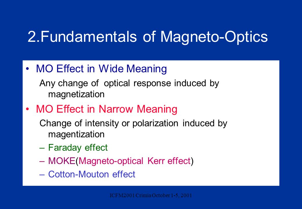 2.Fundamentals of Magneto-Optics