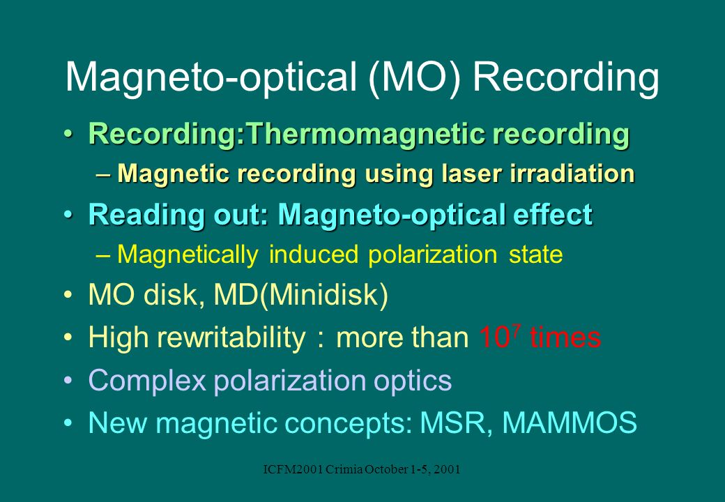 Magneto-optical (MO) Recording