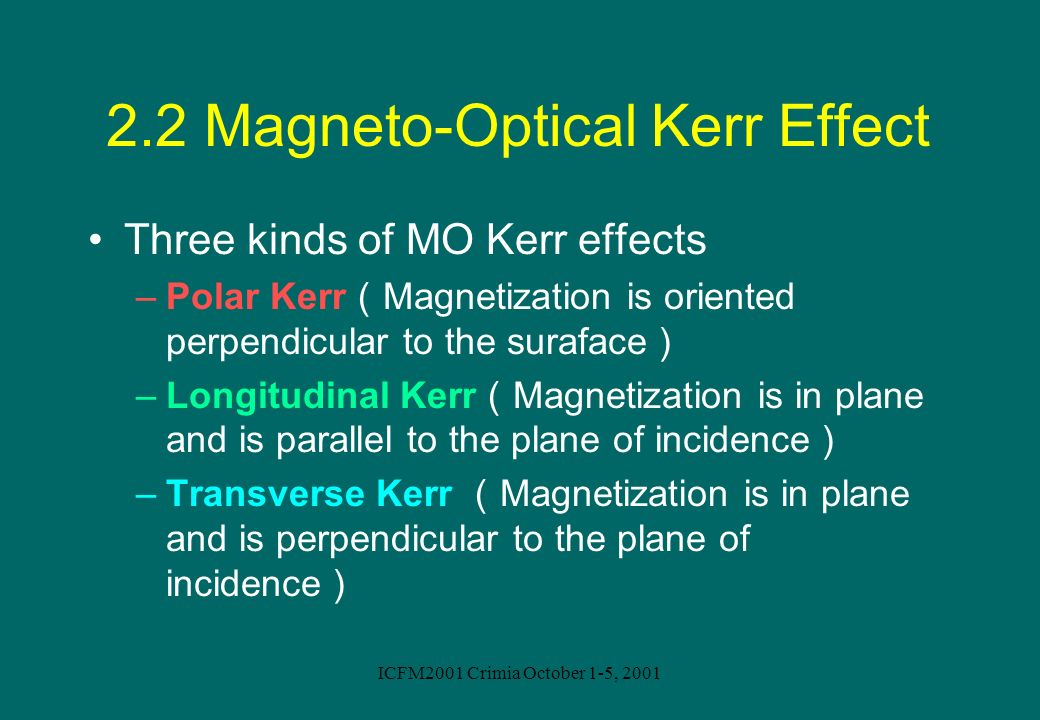 2.2 Magneto-Optical Kerr Effect