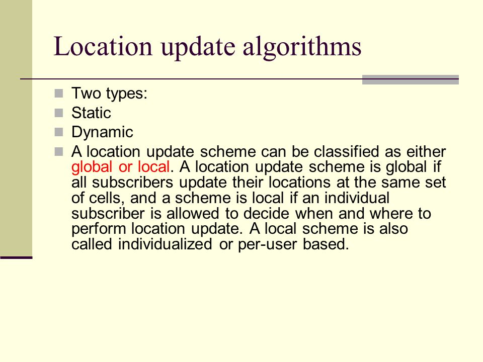 Location update algorithms