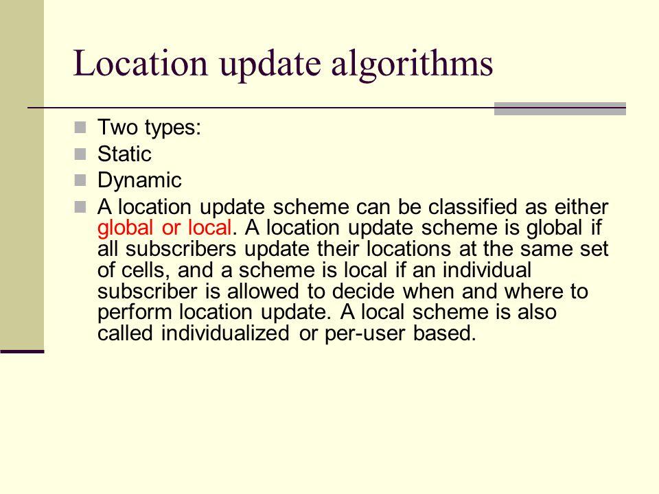 Location update algorithms