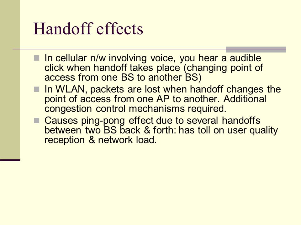 Handoff effects