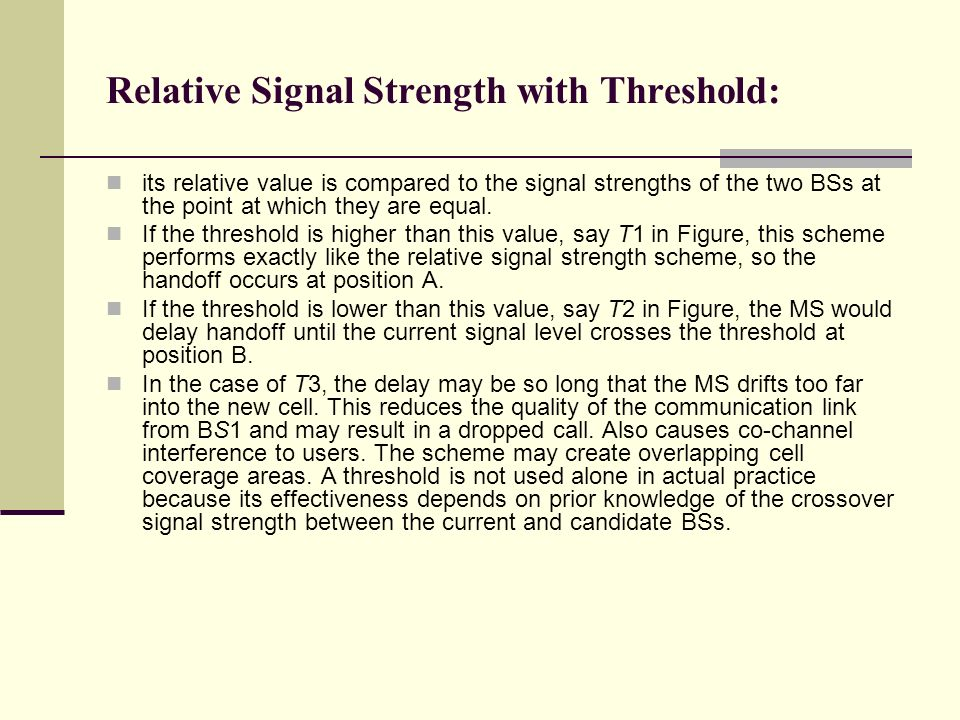 Relative Signal Strength with Threshold: