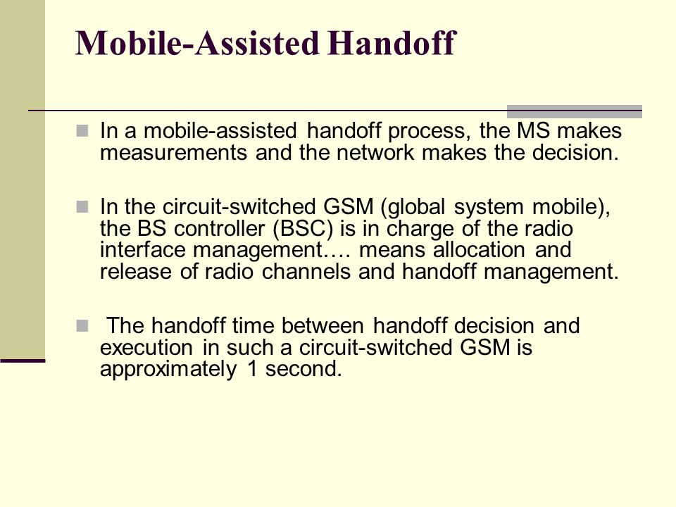 Mobile-Assisted Handoff