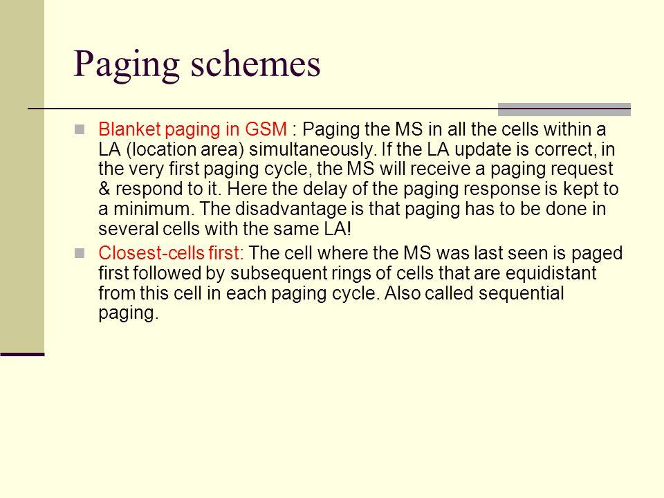 Paging schemes