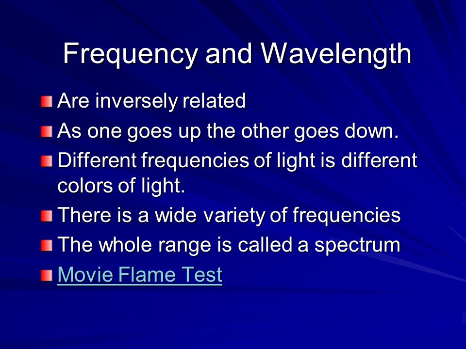 Frequency and Wavelength