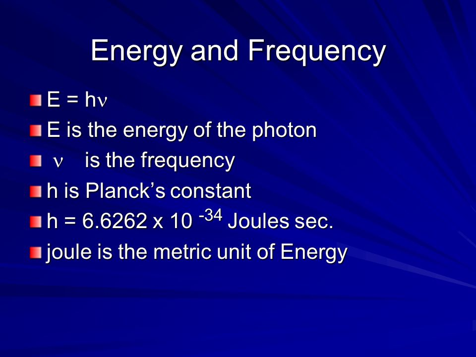 Energy and Frequency E = hn E is the energy of the photon